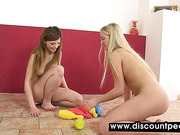 Gorgeous lesbians piss and play with their pussies