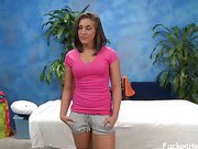 Cute 18 year old brunette Mischa gets seduced by her massage therapist after getting her tits and booty rubbed down with special massage oil.