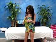Sexy 18 year old brunette Gracie Ivanoe gets fucked hard from behind by her massage therapist