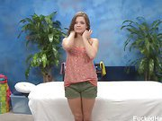 Cute 18 year old Ashlynn Leigh seduced and fucked hard after her free massage!