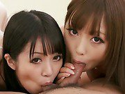 Kotomis horny girlfriend talks her into sharing a horny guys cock with her