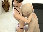 3d hentai cutie handjob black cock and squeezed tits by bald