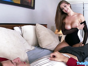 Busty glamour babe titfucked until cumshot