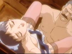 Japanese maid anime hardcore fucked by her master
