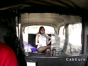 Natural busty babe bangs in fake taxi