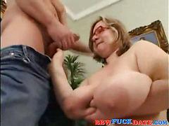 Horny mature bbw suck dick rides cock