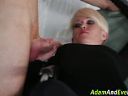Clothed blonde facialized
