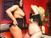 Hot BBW lesbian gets pussy and boobs licked