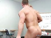 Blonde slut playing teacher gives BJ in classroom