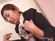 Asian flight attender cunt teased in nylon stockings