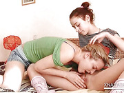 Sinful teen lesbo Natasha tasting delicious pussy in bed