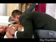 Hot young secretary Grace could not escape from her boss