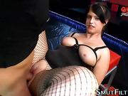 Fetish slut swallows load