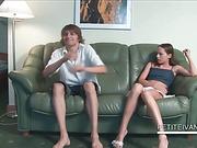 Teen hottie Ivana gets her small tits sucked good