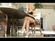 Teen blonde minx masturbates pink twat in public