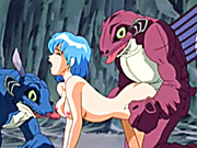 Cute hentai threesome monsters groupfucked