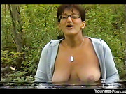 Milf Colette fucks in the forest