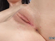 Kissable kitten is gaping slim snatch in close-up and climaxing