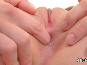 Pretty kitten is gaping tight slit in close up and coming