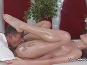 Tattooed legs blonde fucked by masseur