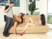 Brunette Claudia and Teen Miranda shares the cock next door