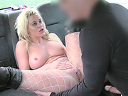 Cute blonde lady goes anal and facial inside the taxi