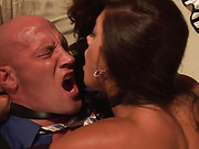 A beautiful girl dominates her man
