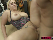 Fat and blonde woman gets her pussy fucked by Shawn in his office