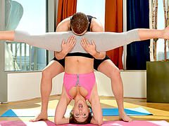 Abella Danger ends up anal fucked by a pervy yoga instructor