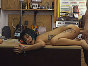 Asian babe fucked by pawn guys fat dick in his pawnshop