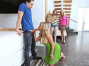Teen caught busty milf sucking her BFs cock in the kitchen