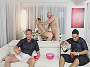 Blonde stepsis banged with her stepbro while watching soccer
