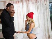Hot teen Alina snoops in to taste a big black cock