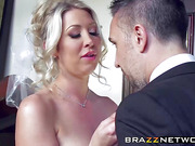 Gorgeous and sexy bride enjoys in wild anal fucking on sofa