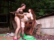 Japanese milf banged outdoors