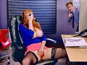 Huge boobs telemarketer Lauren Phillips fucked while working