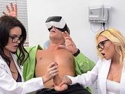 Teenies Marsha and Kacey shares a big cock dude in threesome sex