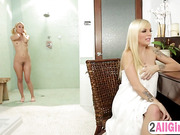 Sexy Aaliyah Love seduces innocent blondie with a massage