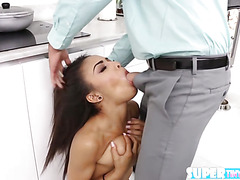 Brunette and tiny Nicole Bexley gets her pussy hammered by stepdad