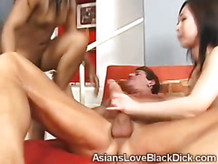 Petite Asian babe ass pounded in interracial threesome