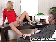 Naughty blonde gets piss in pussy during this wet and messy scene