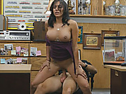 Busty amateur brunette babe gets screwed at the pawnshop