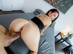 Naomi Mae catches step bro naked again and suck his cock
