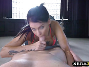 Big boobs yoga instructor Peta Jensen bangs a client
