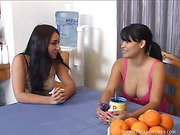 Busty Latina and Friend Share Cock For Cash
