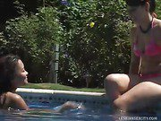 Poolside Striptease And Underwater Pussy Lick