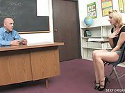 Slutty Blond Student Seduces Older Man