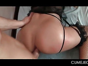 Blonde in lingerie gets all fuck holes nailed in group