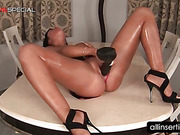 Hot ass tramp self fucking with a black large dildo
