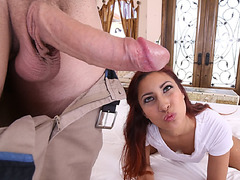 Freckled latina Jade deepthroats until she was choked